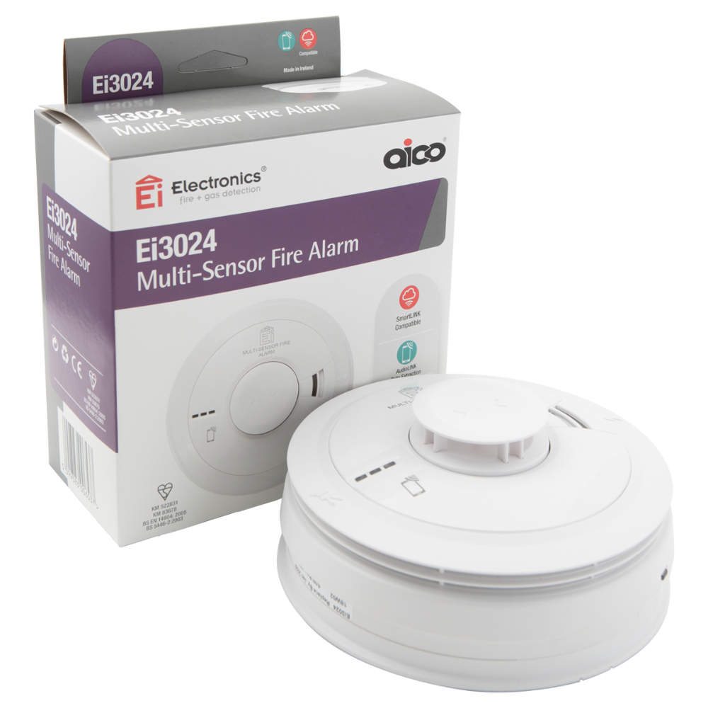 Aico EI3024 3000 Series Multi-Sensor (Smoke/Heat) Alarm with Rechargeable Lithium Battery Backup